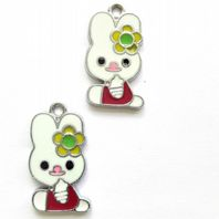 8 Enamel Easter Bunny  Charms 23mm